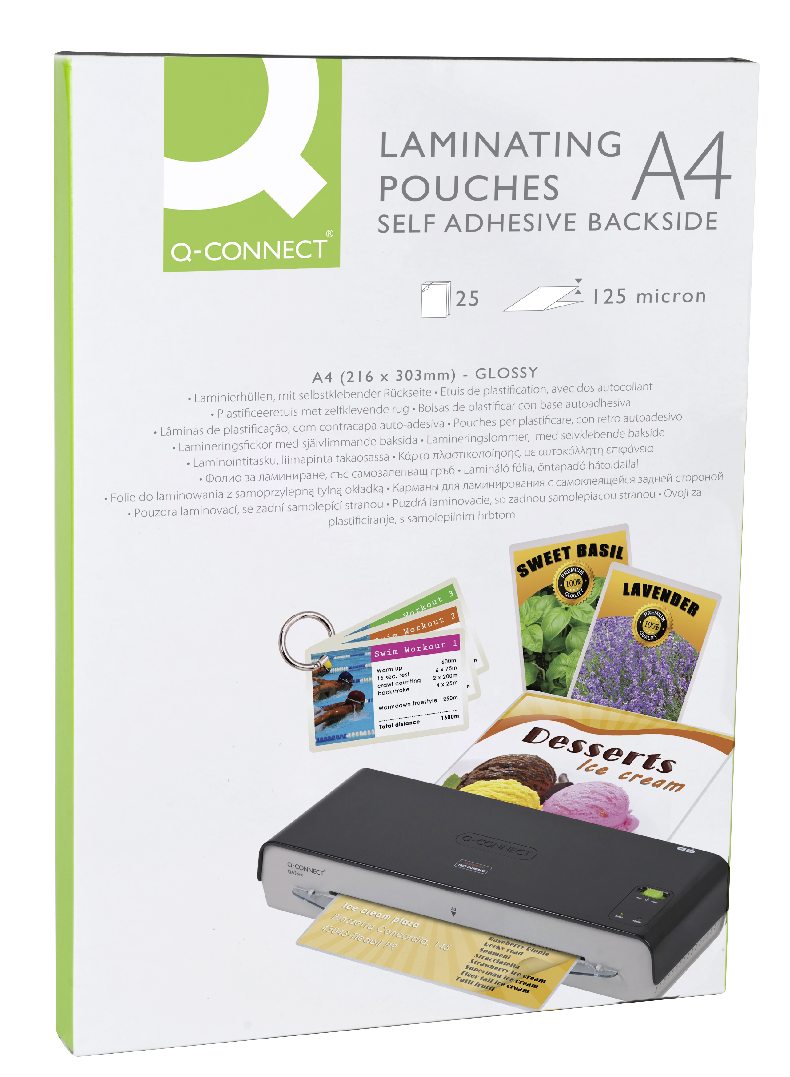 Laminating Pouches A4 Self Adhesive Back 125 Mic Q Connect